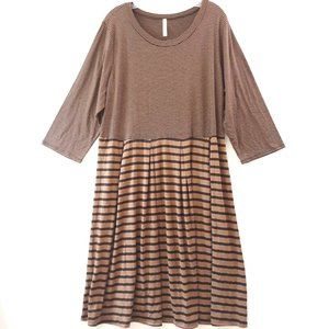 Gilli Modcloth 3X Brown Black Striped Knit Dress